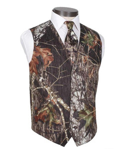 2021 Modest Camo Groom Vests Rustic Wedding Vest Tree Trunk Leaves Spring Camouflage Slim Fit Men's Vests 2 piece set (Vest+Tie) Custom Made