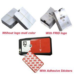 Funda de aluminio multifuncional anti RFID Bloqueo de la tarjeta de crédito Protección de la tarjeta de identificación Bolsas de soporte con pegatinas adhesivas 6.2 * 9.2cm