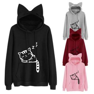 Kawaii Gato Orelha Hoodies Mulheres Bonito Dos Desenhos Animados Gato Dormir Impressão Moletom Com Capuz Casuais Pullover Solta Treino Outerwear