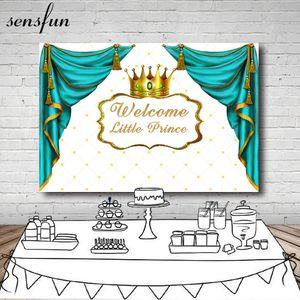 Оптовая бирюзовый занавес принц Золотая Корона Baby Shower фон для фотостудии изголовье 1-й день рождения фоны 7x5ft