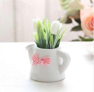 Kleine künstliche Pflanzen dekorative Tulpe Blumen Mini Topf Wasserkocher Bonsai Valentinstag handgefertigte Geschenk 1 Satz (Pflanzen + Vase)