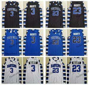 Película para hombre de One Tree Hill 23 Nathan Scott Jersey 3 Lucas Scott Camisetas de baloncesto Camisas con costura azul marino