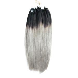 Brezilyalı Mikro Halka Döngü Saç Uzantıları 1g Ucuz 1B / Gri Ombre Brazili Saç 100 s gerçek ombre İnsan Saç mikro döngü Straigt 100g