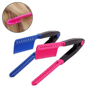 1 pc Rose / Bleu V Type Conception Peigne Pliant Mode Cheveux Modélisation Brosse BRICOLAGE Salon De Coiffure Styling Outil
