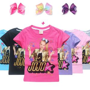 Summer Jojo Siwa Baby Girls T-shirts Cute Printed Shorts Sleeve Kids Bobo Choses Футболка с короткими волосами Детская спортивная одежда Tops C3916