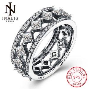 Tüm saleINALIS Toptan 925 Ayar Gümüş Rhombus Yüzükler Kadınlar Için Temizle CZ Ile Orijinal Güzel Takı Paryt Aksesuarları