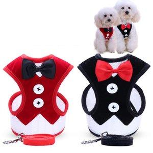 Boda suave arnés para pequeños perros y gatos Arcos de moda Cachorros pequeños animales Pet Harness Leash Chaleco de plomo conjunto de caminar