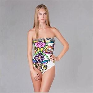 Nouvelle tendance Maillot de bain femme Full Body Body Fille d'une seule pièce maillots de bain sexy plage justaucorps jaune Bikini coloré polyester élastique Imprimer