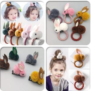 Bonito dos desenhos animados coelho tridimensional hairpin orelhas de coelho de pelúcia outono e inverno anel de cabelo feminino cabeça corda crianças acessórios para o cabelo