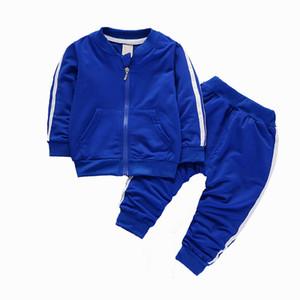 2017 мода осень зима мальчик мальчик девочек наборы устанавливает новорожденный спортивный костюм молния куртка + брюки младенца 2шт костюм baby colthes набор