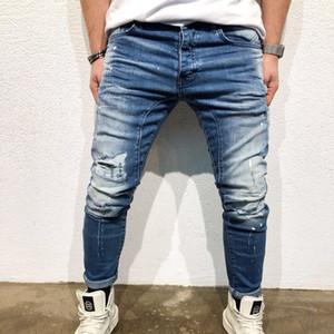 NEW fashion 2018 men's hole jeans blue Hip-hop slim men jean