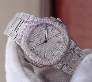 Reloj automático para hombres de lujo, platino suizo Miyota Cal.9015 324SC Full Pave Diamond Dial pulsera Case Nautilus 5711 Rhinestone Relojes para hombres