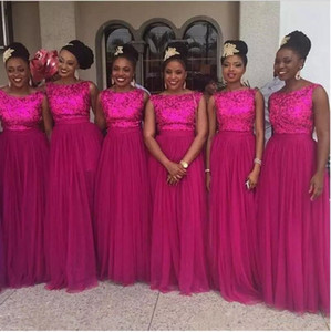2018 Sparkly Rose Red Lantejoulas Scoop Pescoço A Linha Formal Da Dama de Honra Vestidos Sem Mangas Plus Size Longo de Tule Vestidos de Festa de Casamento Custom Made