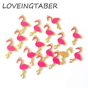 (Escolha a cor em primeiro lugar) 32 mm * 18 mm 30 pçs / lote cor de ouro todos os esmalte flamingo pequenos pingentes charme para fazer acessórios artesanais diy