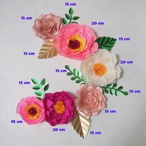 Dev Krep Kağıt Çiçekler Yapay Flores Artificiale 6 ADET + 7 Yapraklar Düğün Olay Zemin Bebek Kreş Sıcak Mix Sahte Çiçekler