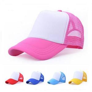 Pas cher Blank Trucker Mesh Hat Printemps Été Snapback Casquette de baseball pour les hommes Plain Foam Net Snap Back Casquettes de baseball pour les femmes 23 couleurs