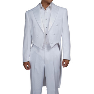 White Wedding Groomsmen Tailocat Double Breasted Two Piece Custom Made Long Men Suits for Prom Jacket Pants