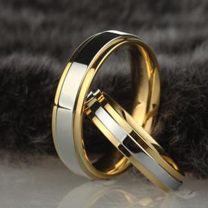 الفولاذ المقاوم للصدأ خاتم الزواج الفضة الذهب اللون تصميم بسيط زوجين التحالف الدائري 4 ملليمتر 6 ملليمتر عرض الفرقة الدائري للنساء والرجال