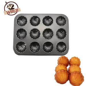 Moules en acier au carbone WIILII 12 cavités pour les gâteaux Madeleines Dessert outils de cuisson