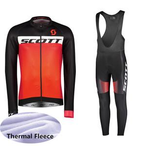 2019 SCOTT Kış Termal Polar Bisiklet Uzun Kollu Jersey Bisiklet Yarışı MTB Maillot Bisiklet Önlüğü Uzun Pantolon Seti Ropa Ciclismo K111233