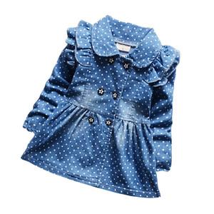 BibiCola primavera novas crianças meninas lindas bolinhas denim jaqueta feminina de algodão do bebê jean lapel casaco crianças emperament outfits