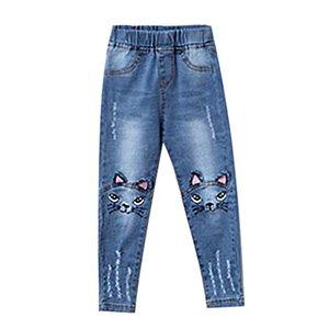 Menoea 2017 primavera gato de la historieta pantalones vaqueros de las muchachas en los pantalones de la rodilla Leotardos lápiz de los niños azul claro Pantalon Fillette 3-7Y