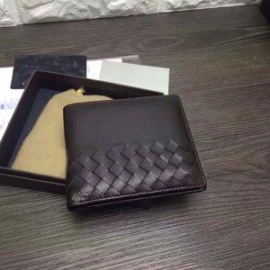 Novo Designer! Alta Qualidade Bi-fold Carteira dos homens Mão-tecido De Tricô Bolsa de Couro De Pele De Cordeiro Curto Carteira Terno Clipe Caixa de Presente Saco de Cor Preta