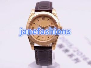 La marca para hombre de alta calidad mira la caja de oro tallada de lujo más vendida en el mundo, relojes de cuero marrón a prueba de agua, relojes de moda a prueba de agua