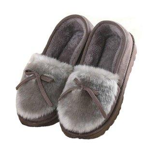 2018 Sonbahar Kış Kadın Bale Daireler Güzel Yay Sıcak Kürk Konfor Pamuk Ayakkabı Kadın Loafer'lar Üzerinde Kayma Boyutu 40