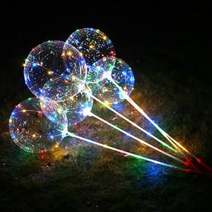 Yeni LED Balonlar Bobo Balon Her set 18inch Led Balon + 80cm Rod +3 m Led çizgi içerir ve pil kutusu 50 set kolu