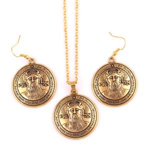 Conjunto de Jóias Para As Mulheres Arcanjo METATRONS Talismã Em Ouro-Tom Bronze Ou Prata SOLOMON Pentagrama Sol Brinco Conjunto Colar