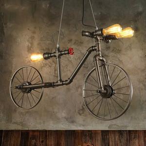 Estilo americano Da Bicicleta Luzes Pingente de Sótão Do Vintage Industrial Entrega de Tubulação de Água Da Lâmpada Luminárias E27 220 V Para Decoração