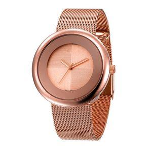 GOO 2018 Novo Super Relógios de Presente de Luxo Mulheres de Aço Inoxidável Relógios de Pulso de Malha Ultra Fino Dial Relógio Mulheres de Quartzo-Relógio