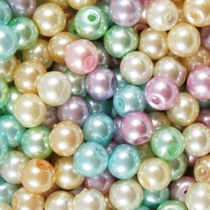 200pcs MIX COLORS Round Pearl Imitation Glass Beads 4mm Loose Beads Jewelry DIY mAKING Fit Bracelets Necklace
