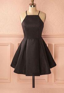 Vintage A-ligne bretelles en satin noire courte robe de bal avec des poches Robe De Festa Sexy bretelles spaghetti pas cher robes de soirée pour fille