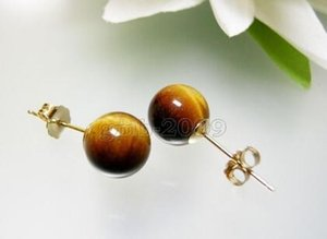 Free shipping 10mm Genuine Natural Yellow Tiger Eye Stone 18KGP Stud Earrings
