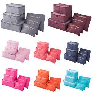sacchetto di trucco della casa di corsa deposito bagagli vestiti dell'organizzatore di immagazzinaggio cosmetico portatile Borse reggiseno della biancheria intima del sacchetto di sacchetti di immagazzinaggio 6pcs / Set HH7-1300