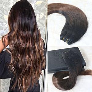 Extensiones de cabello humano Balayage Color Natural Negro Ombre Chocolates Marrón Real Cabello humano Doble trama Balayage Paquetes de cabello