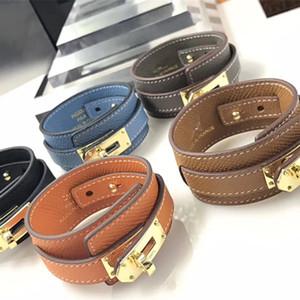Großhandel Titan Lederarmband aus echtem Leder Armband runden Knopf breites Kreuz Muster Baum Muster Damen Leder Bracele