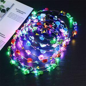 LED Licht Blume Kränze Böhmen Stil Hochzeit Braut Kinder Headwear Decor Glow Floral Crown Beach Holiday Garland Heißer Verkauf 2 6xf YY