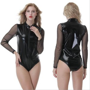 Sexy Costumes Women Jumpsuits & Rompers black Imitation leather Playsuits & Bodysuits hot sexy party club cosplay dancing bodysuits