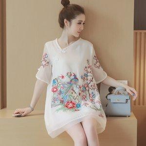 Más el tamaño del estilo chino de las mujeres de alta calidad de la vendimia de la flor del pavo real exquisito bordado cheongsam chic vestidos de una sola pieza 5XL