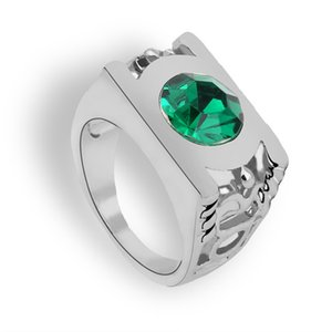 Dropshipping Movie Green Lantern Crystal Ring Mujeres Hombres Justice League Finger Ring Silver Plated Comics Green Lantern Crystal Ring Jewelry
