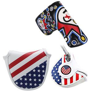 Semicírculo de golf o línea recta putter headcover calidad fina barra de la PU conjunto de patrón de American Club varilla de empuje casco