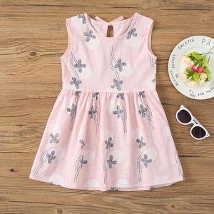 Summer Floral Print Cotton Girls Dress Sleeveless Bowknot O-Neck Vest Dress Children's Clothing