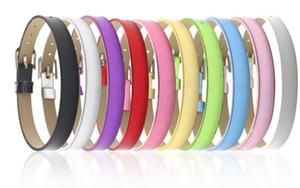 """2018 novo diy handmade 100 PCS 8 MM PU couro Metal Lustre pulseiras DIY pulseira """"pode escolher a cor"""" Fit 8 mm Slide carta / encantos LSBR07"""