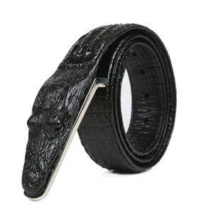 cintura di coccodrillo modello in pelle Cintura in vero coccodrillo business casual simulazione regalo alligatore testa degli uomini di modo per gli uomini