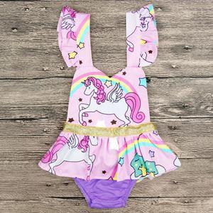 Neonate Unicorn Rainbow Pagliaccetti 2018 Bambini Estate Pagliaccetto Infantile senza maniche Stampato Moda carino Clever Abbigliamento Tute