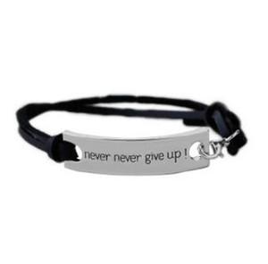 Nie niemals aufgeben Armband Brief Id Tag Armbänder Leder Manschetten für Frauen inspirierende Armband Kinder inspirierende Schmuck MOQ 60 Stk