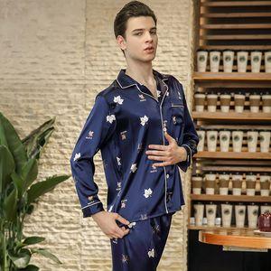 2018 Set da uomo pigiama in seta imitato maschile pigiama di seta da notte a maniche lunghe e pantaloni primavera stile moderno morbido e accogliente casa vestiti